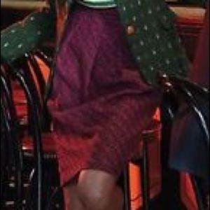 Eva Franco pink gray shirr & pleat pencil skirt
